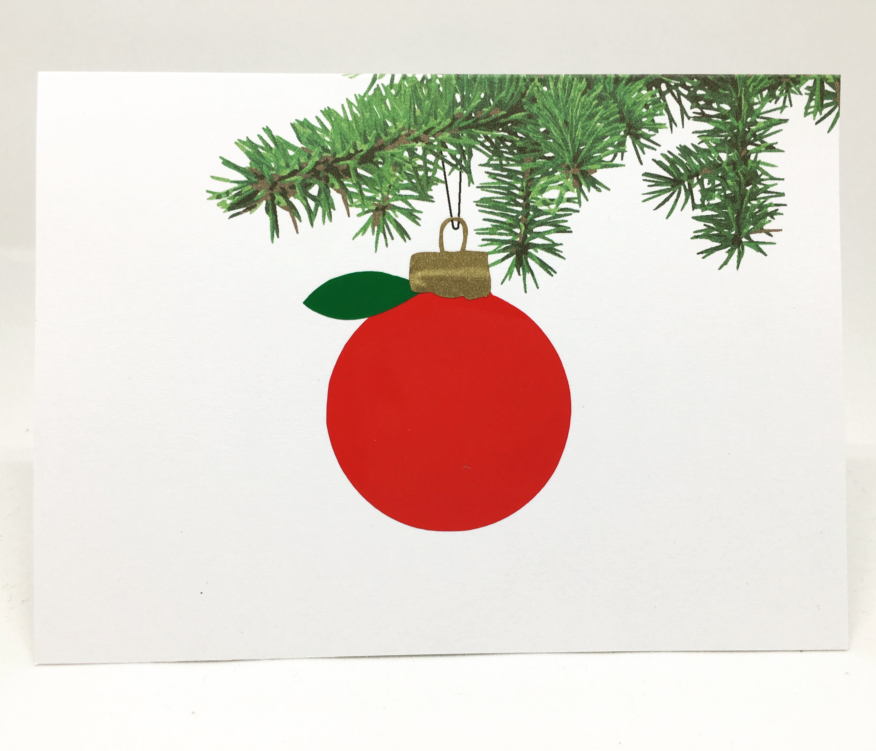 Teacher apple ornament christmas card